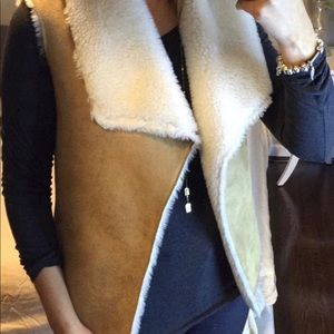 Faux sheepa and sueded vest